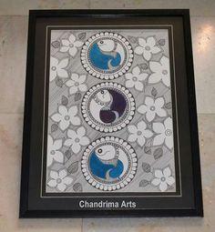 Madhubani Art, Madhubani Painting, Fabric Painting, Painting & Drawing, Kerala Mural Painting, Indian Folk Art, Simple Cartoon, Arabic Art, Traditional Paintings