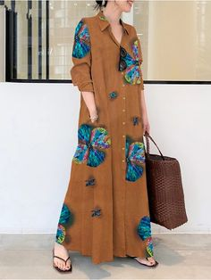 2021 european and american cotton and linen printing lapel long-sleeved pocket simple loose literary leisure long shirt dress 2021 - € 20.46 Maxi Shirts, Loose Shirts, Maxis, Robe T-shirt Large, Maxi Robes, Long Shirt Dress, Long Sleeve Maxi, Collar Dress, Dresses Online