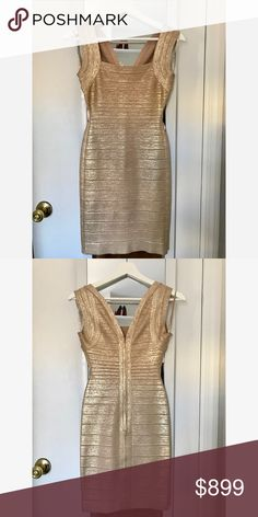 Herve Léger bandage dress - Gold Amazing Herve Léger dress - bought in the Herve Leger store in SoHo, New York.  Size: Small  Only worn a couple of times Herve Leger Dresses Midi