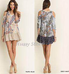 Umgee USA Cold Open Shoulder Dress Boho Tunic Paisley Floral Spring 2016 S-M-L  #UmgeeUSA #Tunic #Casual
