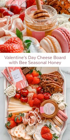 Valentine's Day Cheese Board with Bee Seasonal Honey - Imogen Linge Charcuterie Recipes, Charcuterie Platter, Charcuterie And Cheese Board, Cheese Boards, Party Food Platters, Cheese Platters, Cheese Platter Board, Crudite, Valentines Day Food