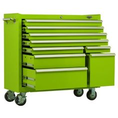 Viper Tool Storage Steel Rolling Tool Cabinet, Lime Green Built tough from steel 100 LB rated full extension ball bearing drawer slides Cam lock Powder coated finish Extruded aluminum drawer pulls and one side handle Limited lifetime warranty