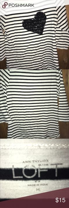 Ann Taylor Loft shirt White with black stripes Ann Taylor Loft shirt with sequins black heart. No stains or tears . Like new condition. Sz Medium with 3/4 Sleeves. ann taylor loft Tops Blouses