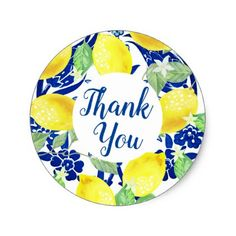 Shop Country Lemons & Blue Floral Thank You Classic Round Sticker created by GrudaHomeDecor. Yellow Party Themes, Lemon Crafts, Lemon Party, Decoupage, Diy Spring Wreath, Wedding Envelopes, Thank You Stickers, Round Stickers, Different Shapes