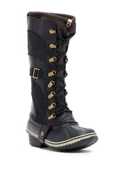 timeless design c4456 63cca Conquest Carly Boot (Women) Short Heel Boots, Black Lace Up Boots, Black