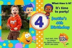 Bubble Guppies Birthday Invitation Printed on Cardstock w envelope