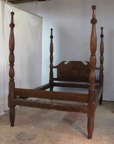 An antique four poster bed in cherry with footboard and paneled headboard. Finnegans Wake, Wooden Beds, Primitive Bedroom, Antique Beds, Four Poster Bed, Butterfly House, Theatre Design, Sleep Tight, American Country
