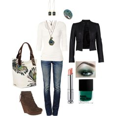 Cute, but maybe with some boots tha match the jacket more and a black or dark gray strap on the purse!