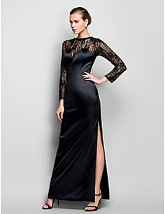 TS Couture® Formal Evening / Military Ball Dress - Vintage Inspired Plus Size / Petite Sheath / Column Scoop Floor-length Lace / Stretch Satin – USD $ 109.99
