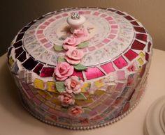 Finally listed, handmade Mosaci Cake Dome Server Cover
