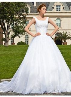 Beautiful Ball Gown Off-Shoulder Satin and Lace Chapel Train Wedding Dress