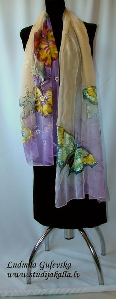 Natural silk shawl floral purple cream pansy by Studijakalla