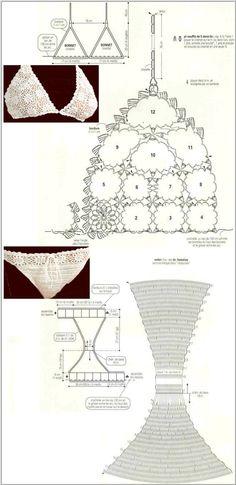 """Patrones Crochet: 2 Bikinis de Crochet Blancos Patrones/ crochet patterns: 2 white bikini crochet patterns or underwear"", ""♪ ♪ Biquini de Crochê Bran Motif Bikini Crochet, Bikinis Crochet, Crochet Motifs, Crochet Diagram, Crochet Chart, Crochet Patterns, Crochet Diy, Mode Crochet, Crochet Woman"