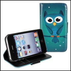 Para iPhone 4S livro de cartão bonito coruja dos desenhos animados caso capa de telefone para o iPhone 4S