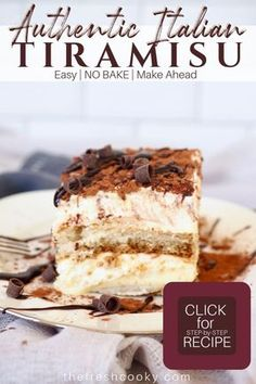 Tiramisu - A traditional Italian Authentic Tiramisu – A traditional Italian Dessert Traditional authentic Tiramisu is one of the most famous Italian desserts around the world. Learn the easy secrets of making tiramisu at home. Recipe and tips on Easy Desserts, Delicious Desserts, Yummy Food, Easy Italian Desserts, Authentic Italian Desserts, Homemade Desserts, Italian Food Recipes, Famous Italian Dishes, Baking Recipes