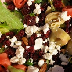 tortellini salad with cranberries, pecans, and feta
