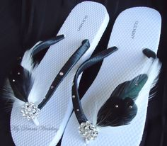 Black and White Flip Flops. Black and White by MyDreamWedding