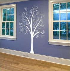 Items similar to Large Curly Tree Wall Decal - 6 foot Tree Decal - Fancy Wall Decor - Customize Playroom Nursery Kids Room for Boys Girls Teens on Etsy Tree Wall Art, Diy Wall Art, Wall Decor, Vinyl Wall Quotes, Vinyl Wall Decals, Big Girl Rooms, Boy Room, Tree Decals, Bath Girls
