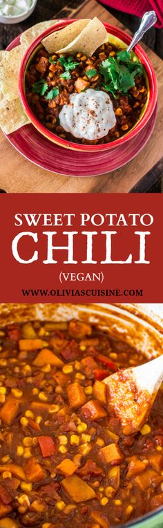 Sweet Potato Chili | www.oliviascuisine.com | A hearty and delicious vegetarian chili made with sweet potatoes, black eyed peas, corn and tomatoes. #YesYouCAN #AD