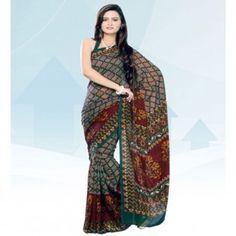 Multicolor printed saree for $30