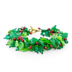 Deck The Holly Bracelet | Fusion Beads Inspiration Gallery    OMG - this is an adorable bracelet idea!