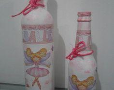 Garrafa decorada infantil kit 2 peças