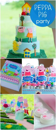 a delightful outdoor Peppa Pig party! See more party ideas at ! Pig Birthday, 4th Birthday Parties, Birthday Ideas, Cumple Peppa Pig, Peppa Pig Cakes, Pig Party, A Table, Party Time, Party Ideas