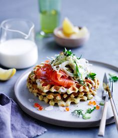 Australian Gourmet Traveller recipe for buttermilk waffles with cured ocean trout and fennel salad.