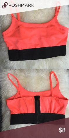 Bright neon coral bralette sz XL Super cute 80s detail with the zipper in the back and the thick elastic band. No padding at all. It's a sz XL but fits like a large Charlotte Russe Intimates & Sleepwear
