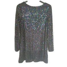 Black Sequin Ladies Dress Irridescent Size 14 New Long Sleeve Party 36ins Motel Short Sleeves, Long Sleeve, Black Sequins, Round Collar, Size 14, Sequin Skirt, Blouse, Lady, Rhinestones