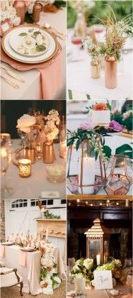Rose gold bronze copper wedding theme ideas