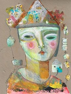 Mixed Media Painting Original Modern Folk Art Woman by kittyjujube