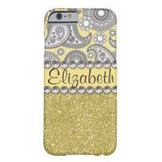 Glitter Paisley Rhinestone Print Pattern iPhone 6 Case