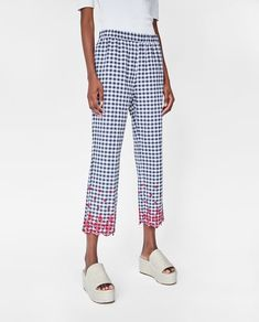 EMBROIDERED GINGHAM TROUSERS