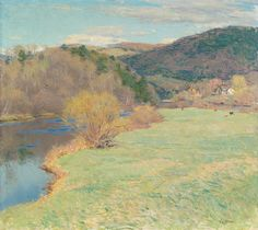 """""""Springtime along the River,"""" Willard Leroy Metcalf, ca. 1922-1924, oil on canvas, 25 x 28-1/2"""", private collection."""