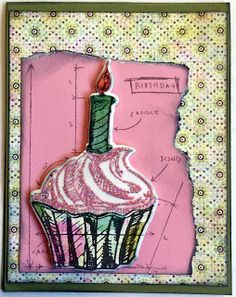 Tim Holtz Birthday Blueprint with Basic Grey Sweet threads #cupcake #timholtzblueprint