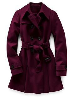 If I had the $$$ I'd change up to this gorgeous berry coat. Victoria's Secret Wool Trench Coat, $126