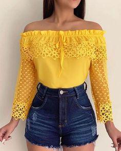 Yellow Off Shoulder Top, Trend Fashion, Fashion Fashion, Womens Fashion, Fashion Dresses, Workwear Fashion, Fashion Boots, Short En Jean, Short Jeans