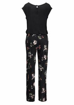 #LASCANA #Damen #Overall #schwarz Im raffinierten Look – sieht aus wie 2 Teile. Oberteil in uni Schwarz, Hosenteil mit Alloverdruck – jedes Teil ein Unikat. Eingrifftaschen seitlich. Innenbeinlänge ca. 76 cm.