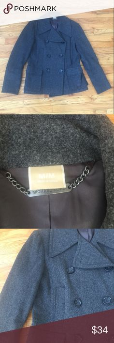 Michael Kors Wool Grey Double Breasted Coat Pit to Pit: 20 in | Length: 25 in |  Great condition! Please ask if you have any questions :) Michael Kors Jackets & Coats