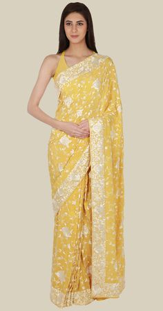 Masterpiece Primrose Yellow-Ivory Hand Embroidered Parsi Gara Saree