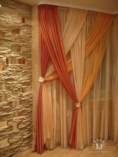 Overlapping sheers very soft and romantic. To make it a bit less formal let some of the panels drape a bit more loosely