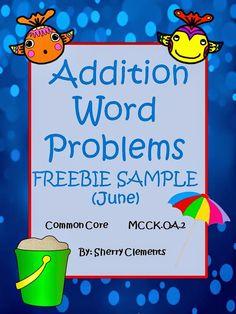 FREEBIE SAMPLE: Addition Word Problems (June) - Dr. Clements' Kindergarten - kindergarten, first grade, and second grade math