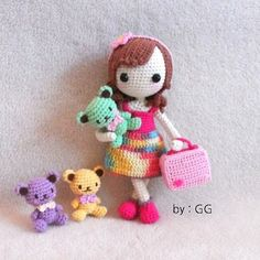 Amigurumi doll with tiny bears. (Inspiration).♡