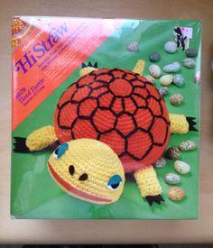 Vintage tired turtle hi-straw crochet kit - sealed - so cute!!!