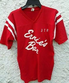 Check out what I'm selling on Mercari! Ernies Bar Vintage Jersey Shirt M 80s Fashion, Vintage Fashion, Jersey Shirt, T Shirt, Vintage Shirts, Red Color, V Neck, Bar, Tops