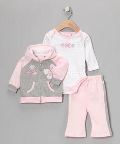Pink & Gray Butterfly Zip-Up Hoodie Set $12