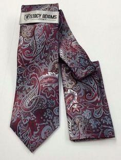Stacy Adams Tie & Hanky Set  Burgundy, Silver & Gray Paisley Men's Hand Made #StacyAdams #Tie