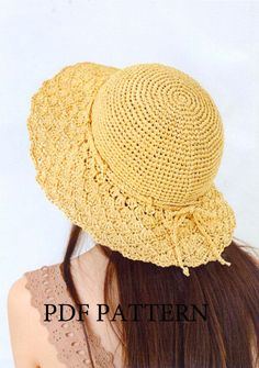 pdf pattern of hat, summer hat pattern,crochet pattern,sun hat,hat pattern Crochet Hat With Brim, Crochet Summer Hats, Summer Knitting, Crochet Beanie, Crochet Yarn, Knitted Hats, Sombrero A Crochet, Bonnet Crochet, Raffia Hat