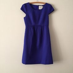 "Empress Dress from Anthropologie By HD in Paris. Side pockets. Back zip. Polyester, cotton. Machine wash. The lighting makes it look dark blue but it's more of an electric royal blue. Excellent condition! From the top of the shoulder to the bottom of the dress is 34"". Anthropologie Dresses"